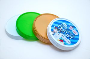 Plastic lid 118 mm diameter - best for cardboard buckets. Colored plastic lids for big cardboard cups