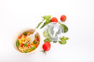 plastic foldable Fork in lid packaging - best option for food to go created by Plastco. PP Fork in lid for pasta, noodles.